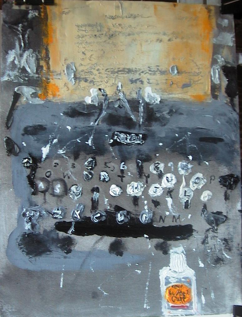 an abstract impressionistic painting of a typewriter and paper messed up with wite-out, may be used in a different context at http://www.adamkotsko.com/weblog/2006_11_01_archive.html
